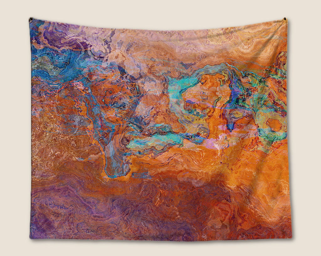 Abstract Art Tapestry southwest wall hanging in turquoise and orange