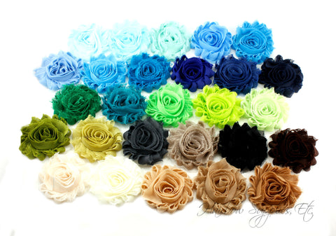 Shabby flowers 2.5 inches - solid (blues, greens, browns)