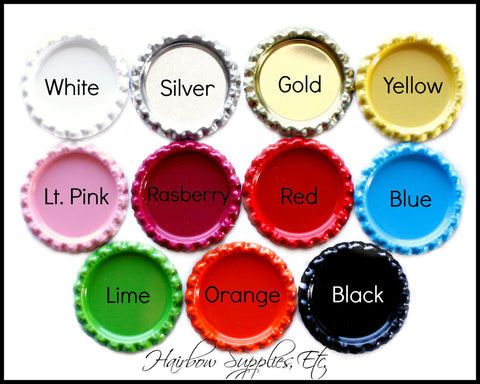 Flattened bottle caps solid colors 1 inch