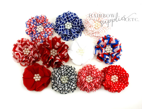 July 4th chiffon scalloped flowers - 2 inch