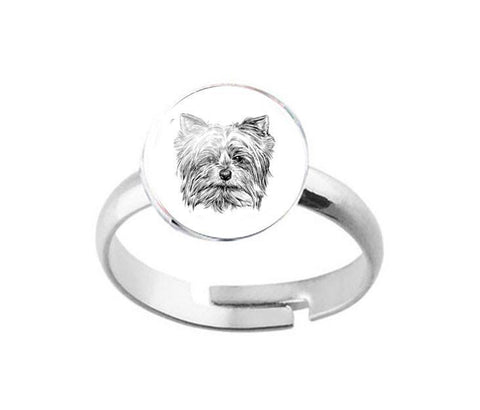 Silver Yorkie Dog Ring - Jewelrylized.com