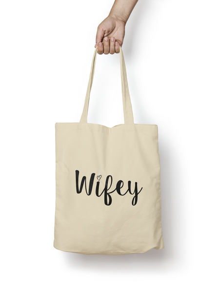 Wifey Natural Cotton Tote Bag - Promofix Gifts