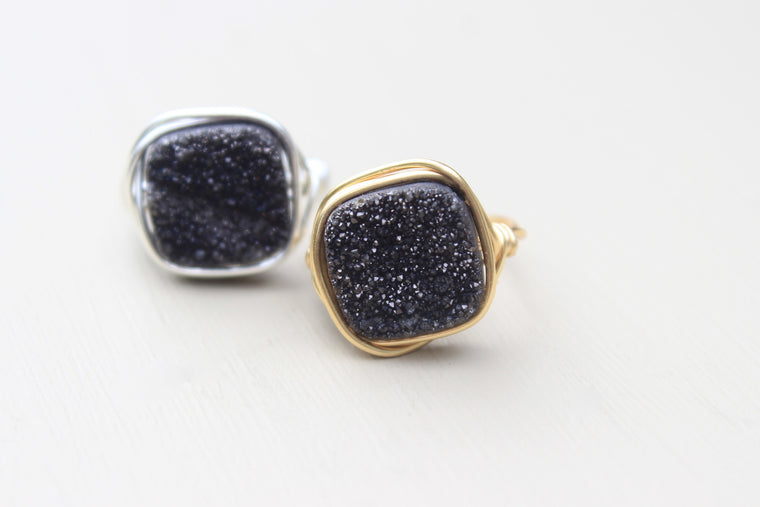 Black Druzy Statement Ring