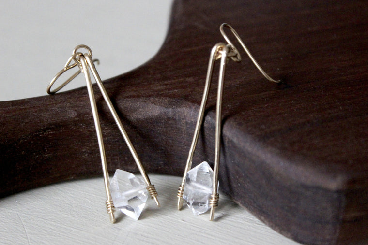 Herkimer Diamond Apex Drop Earrings