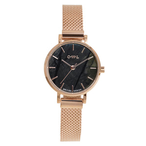 Amesbury Rose gold mesh watch with genuine Picasso Jasper - OWL watches