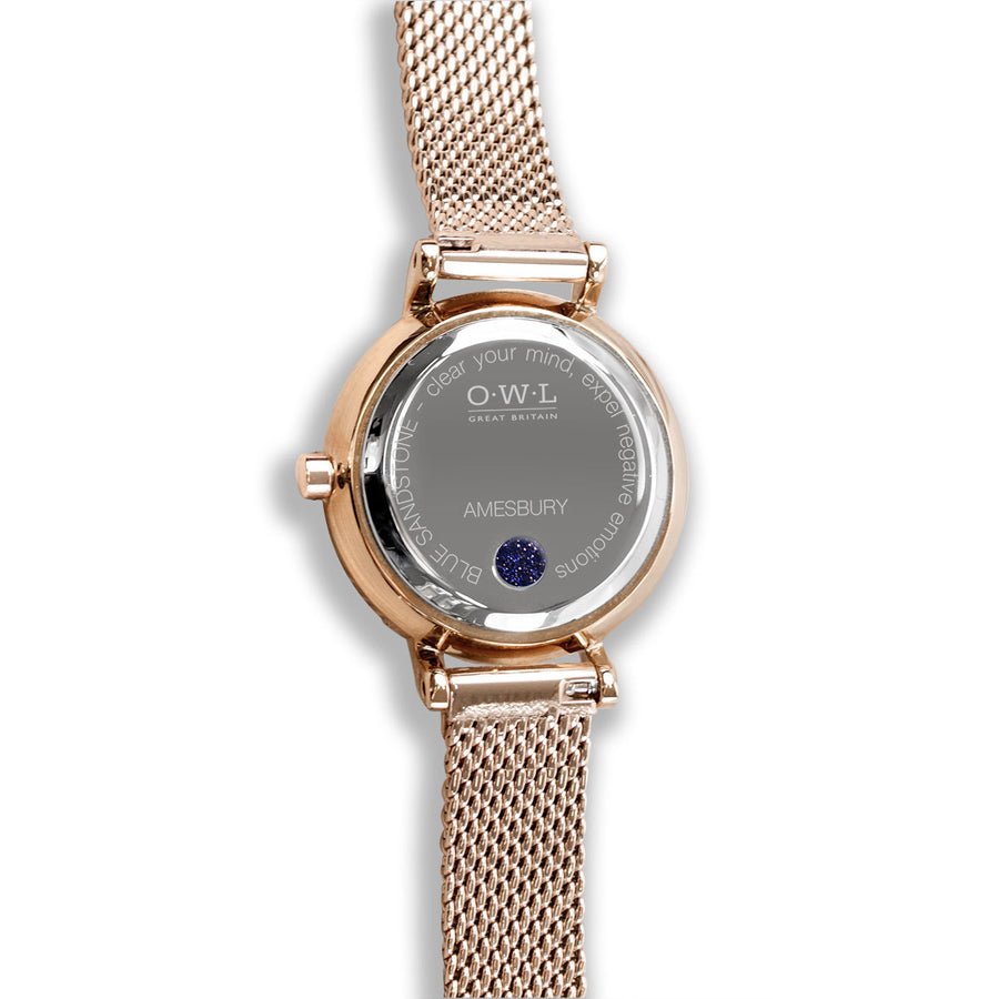Amesbury Rose gold mesh watch with a Genuine Blue Sandstone - OWL watches