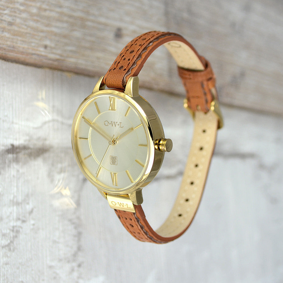 BELFAST GOLD AND TAN BROGUE LEATHER STRAP WATCH - OWL watches