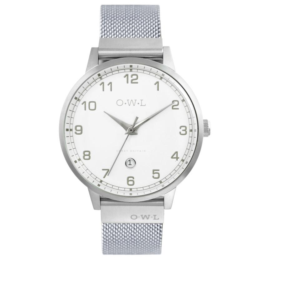 BRANCASTER STEEL & SHELL WHITE DIAL & STEEL MESH STRAP WATCH - OWL watches