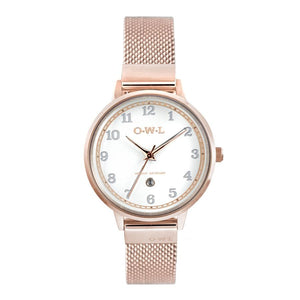SUTTON ROSE GOLD CASE WITH SHELL WHITE DIAL & MESH STRAP - OWL watches