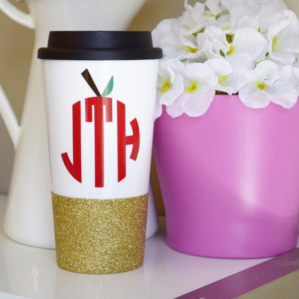 Apple Monogram - Coffee Travel Mug - Twinkle Twinkle Lil' Jar - 1