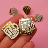 A Cup of Tea Solves Everything Enamel Pin - Black