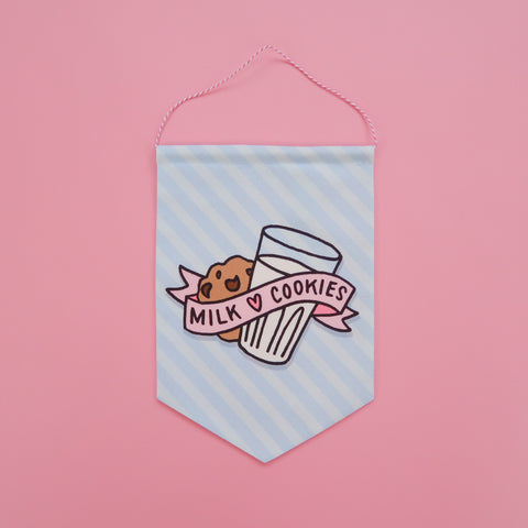 Milk and Cookies Fabric Banner