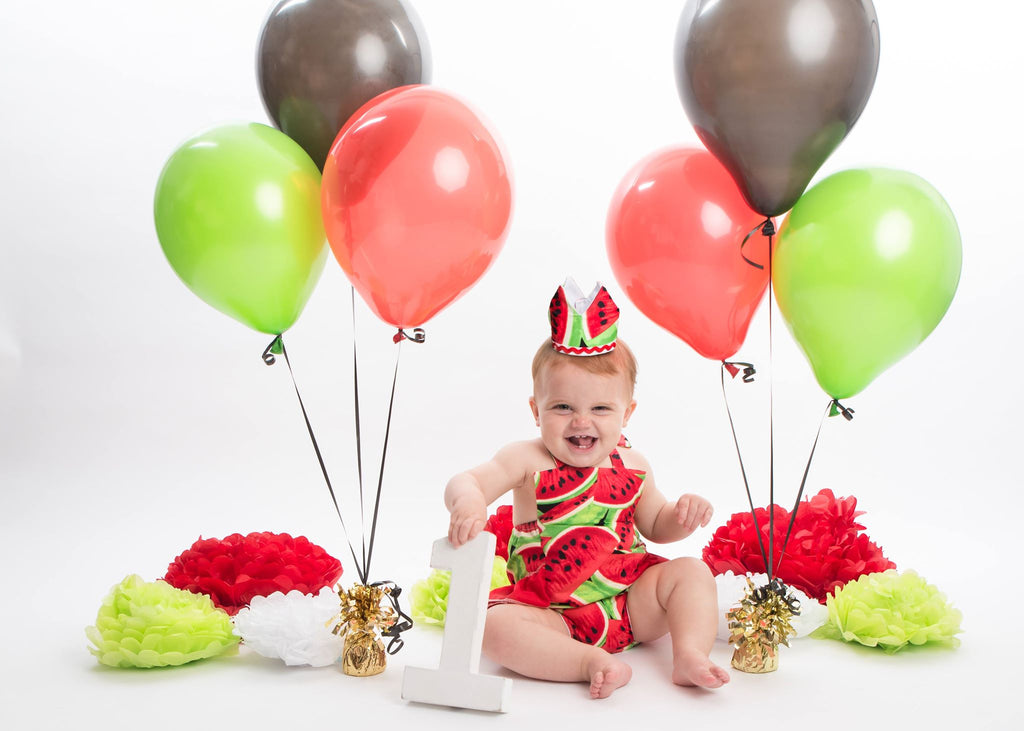 Girls watermelon cake smash romper and crown