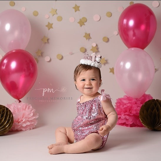 Girls Pink Sparkly Sitter Romper and Headband - 6-12 mths - Photography