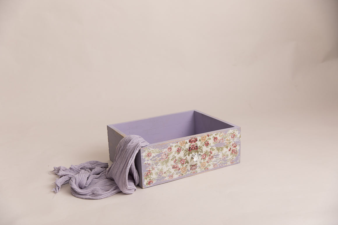 Lilac Vintage Inspire Dual Drawer and Crate - Photography Prop - Newborn Photography - Sitter Photography - RTS