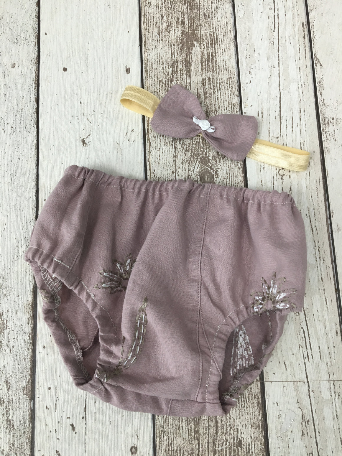 Girls Linen Cake Smash Pants with Headbands - age 12-18 months