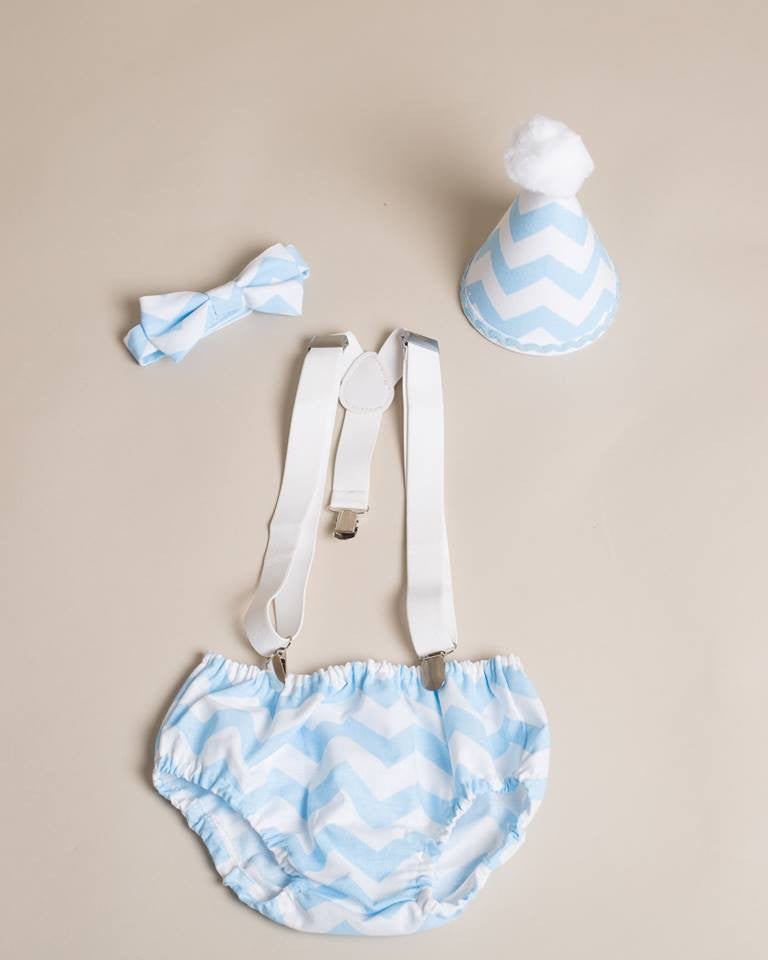 Baby blue chevron outfit with bow tie