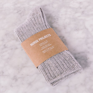 Norse Projects Siggy Lambswool Sock Light Grey Melange
