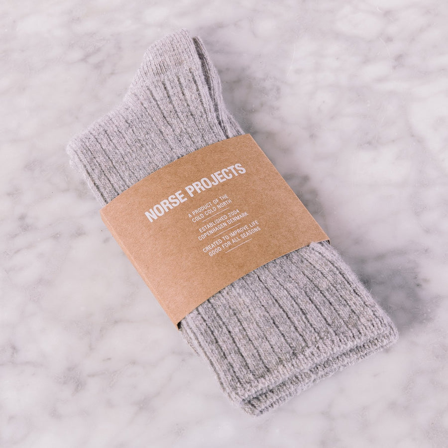 Norse Projects Siggy Lambswool Sock Ecru