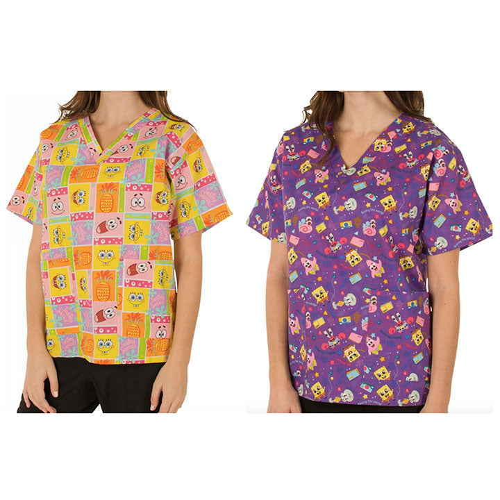 update alt-text with template Daily Steals-Nickelodeon Women's Cartoon Pediatric Scrubs Tops - 2 Pack-Women's Apparel-Large-Spongebob-2-