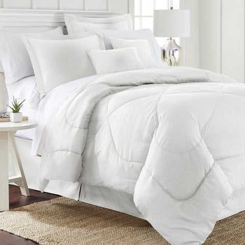 Daily Steals-6 Piece Set: Chevron Embossed Comforter Set-Home and Office Essentials-White-Queen-