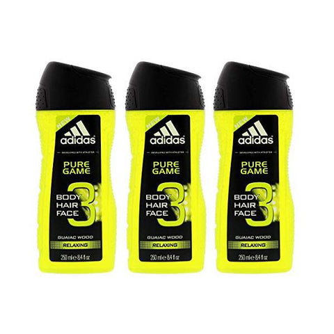Adidas Pure Game 3-in-1 Relaxing Shower Gel, Shampoo & Face Wash 8.4fl oz. - 3 Pack