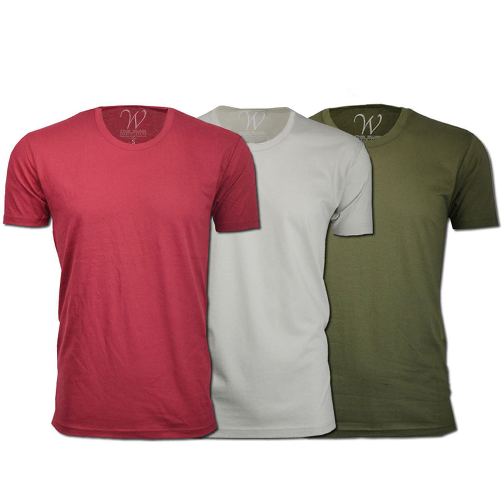 update alt-text with template Daily Steals-Men's Ethan Williams 3-Pack Sueded Crew Neck T-shirts-Men's Apparel-Burgundy + Military Green + Sand-S-