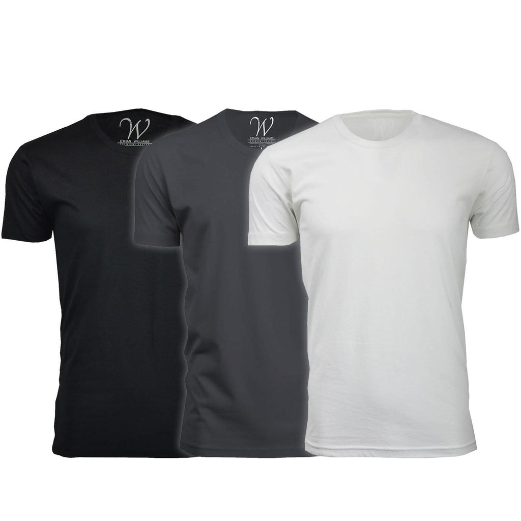update alt-text with template Daily Steals-Men's Ethan Williams 3-Pack Sueded Crew Neck T-shirts-Men's Apparel-Black + Heavy Metal + White-S-