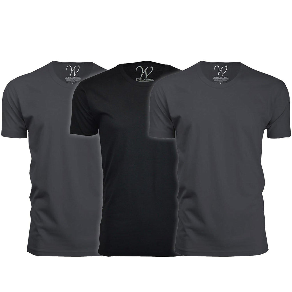 update alt-text with template Daily Steals-Men's Ethan Williams 3-Pack Sueded Crew Neck T-shirts-Men's Apparel-Heavy Metal + Heavy Metal + Black-S-