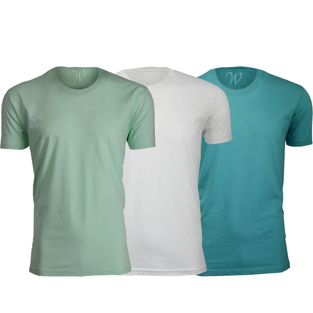 update alt-text with template Daily Steals-Men's Ethan Williams 3-Pack Sueded Crew Neck T-shirts-Men's Apparel-Turquoise + White + Mint-XL-