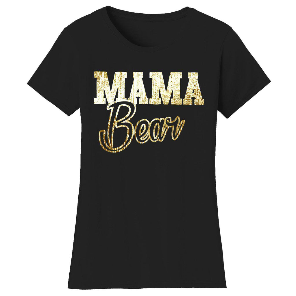 Daily Steals-Women's Mama Bear Themed T-shirts-Women's Apparel-2X-Large-MAMA Bear Script - Black/Gold Print-