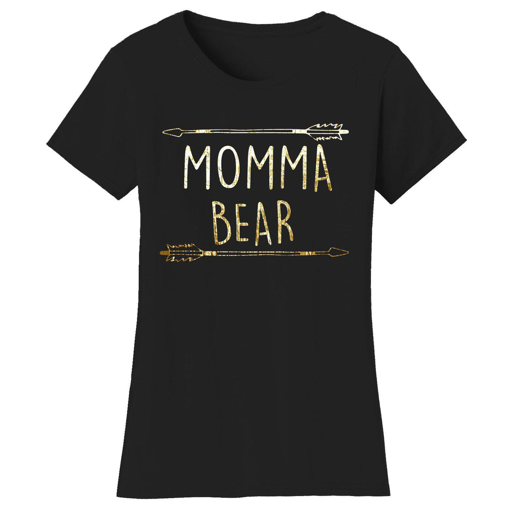 Daily Steals-Women's Mama Bear Themed T-shirts-Women's Apparel-2X-Large-MOMMA Bear Arrow - Black/Gold Print-
