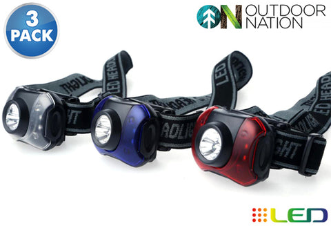 update alt-text with template Daily Steals-Outdoor Nation 7-LED Headlamp with White and Red Lighting - 3 Pack-Outdoors and Tactical-