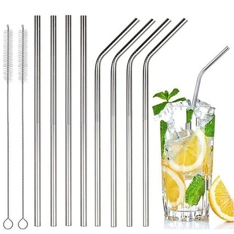 update alt-text with template Daily Steals-[8-Pack] Stainless Steel Bent & Straight Drinking Straws-Kitchen-