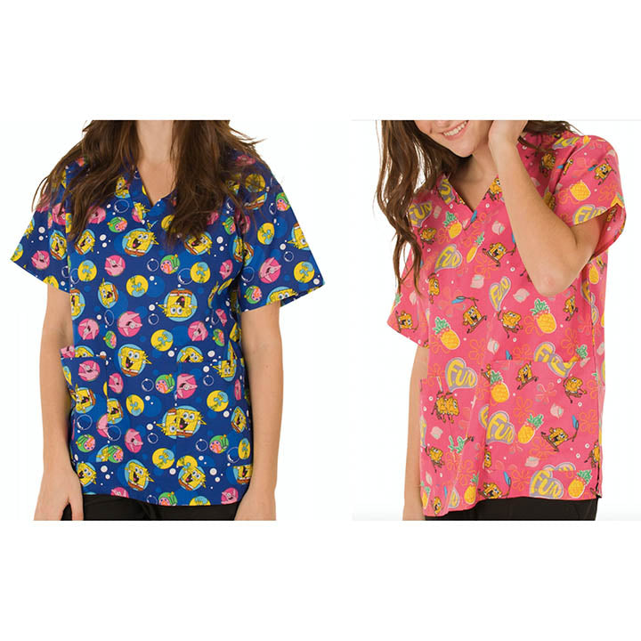update alt-text with template Daily Steals-Nickelodeon Women's Cartoon Pediatric Scrubs Tops - 2 Pack-Women's Apparel-Large-Spongebob-1-