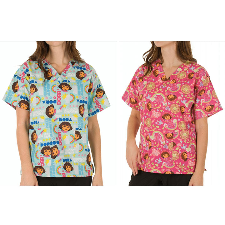 update alt-text with template Daily Steals-Nickelodeon Women's Cartoon Pediatric Scrubs Tops - 2 Pack-Women's Apparel-Large-Dora-1-
