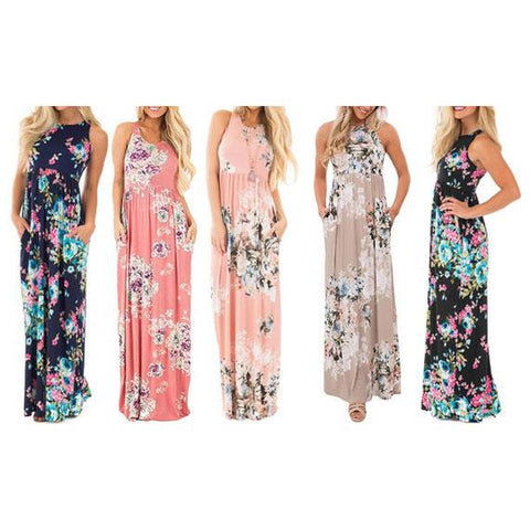 update alt-text with template Daily Steals-Maxi Floral Dress - Colors Available-Women's Apparel-Blue-L-