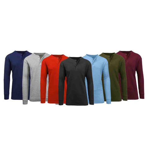update alt-text with template Daily Steals-Men's Waffle-Knit Thermal Henley Tees - 3 Pack-Men's Apparel-Black - Burgundy - Charcoal-Small-
