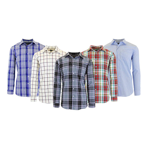 Daily Steals-Men's Slim-Fit Plaid Dress Shirts With Chest Pocket-Men's Apparel-White/Burgundy-Small-