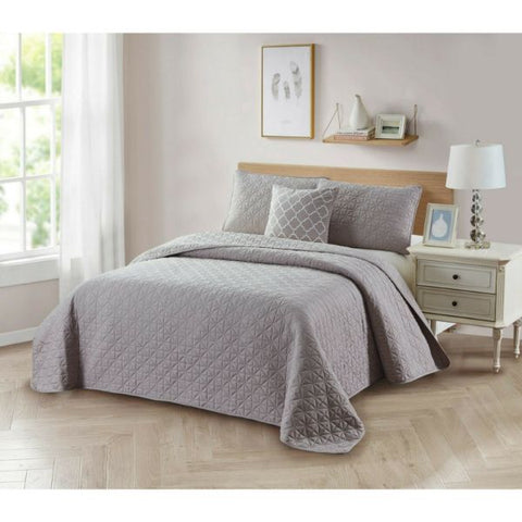 update alt-text with template Daily Steals-Bibb Home 4-Piece Solid Reversible Quilt Set-Home and Office Essentials-Taupe-Full/Queen-