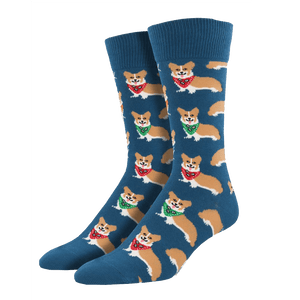 Steel Blue Corgi Socks - Men's - Cute Dose