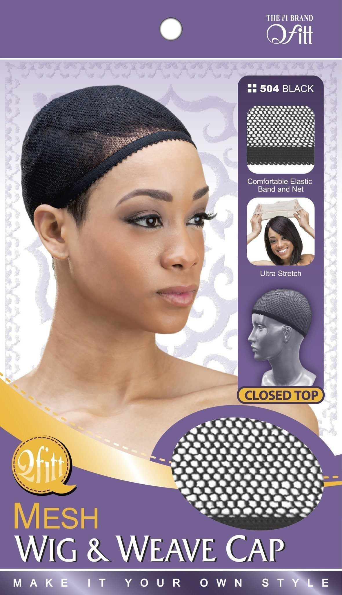 #504 Mesh Wig & Weave Cap Closed Top / Black (Dz)
