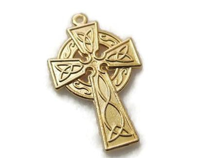 Celtic Cross, Gold-Plated Pewter