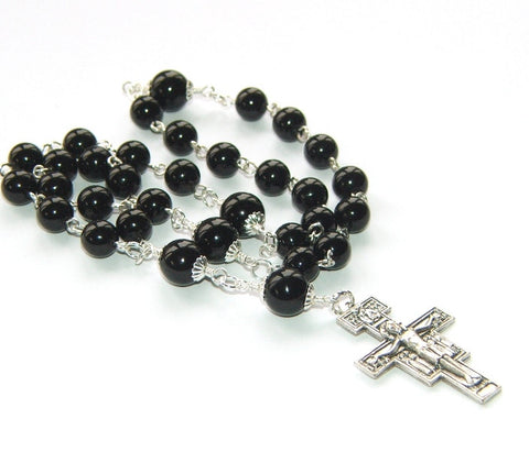 Anglican or Protestant Rosary, Black Onyx with San Damiano Cross