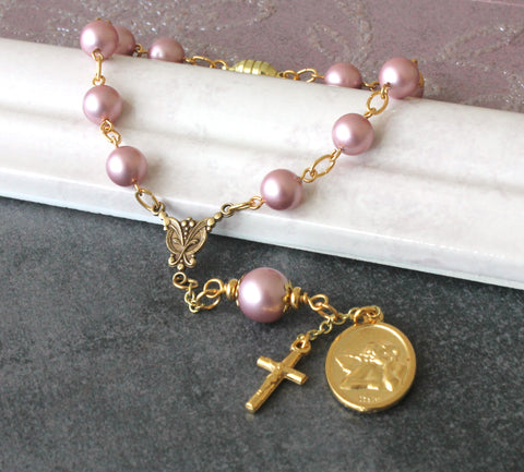 Car Rosary for Rear View Mirror, Pink Swarovski® Pearls, Guardian Angel Medal - Car or Travel Rosary