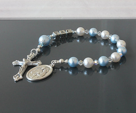 Baptism Gift, Personalize for Baby Boy, Blue Swarovski Pearl Rosary Chaplet
