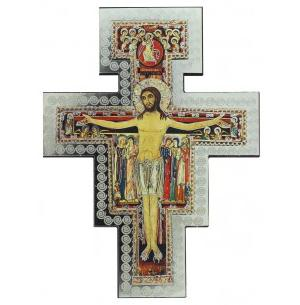 San Damiano Hanging Wood Cross, Silver Foil