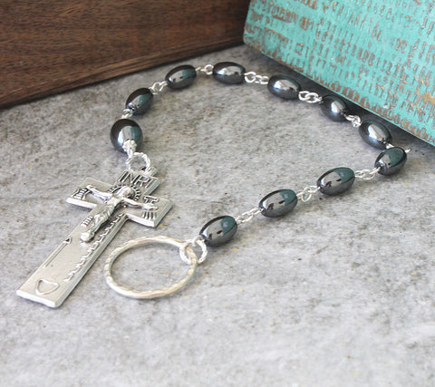 Irish Penal Rosary, Hematite & Silver, Customise Options