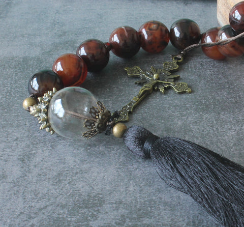 Man's Paternoster, Large Agate & Glass Beads, Bronze Crucifix