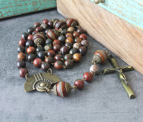 Large Rosary, Agate Gemstone Beads with Brass Renaissance Style